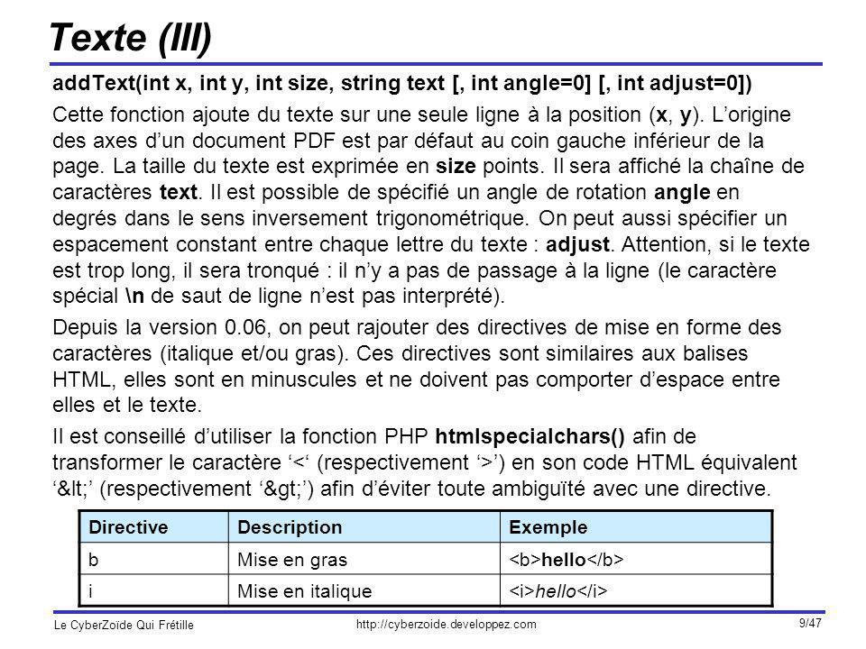 Texte (III) addText(int x, int y, int size, string text [, int angle=0] [, int adjust=0])